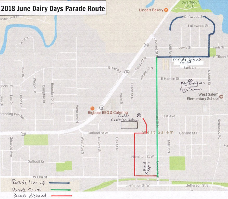 June Dairy Days Parade Route Map